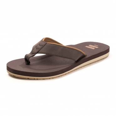 TOMS Chocolate Brown Mens Carilo Flip Flops