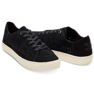 TOMS Deconstructed Black Suede/Woven Panel Womens Sneakers