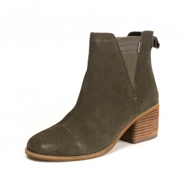 TOMS Tarmac Olive Suede Womens Esme Botie